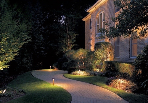 Outdoor lighting green grass lawn sprinklers path area lighting workwithnaturefo